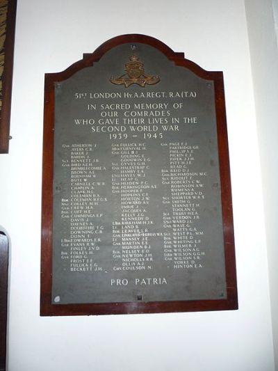 Monument 51st (London) Heavy Anti-Aircraft Regiment