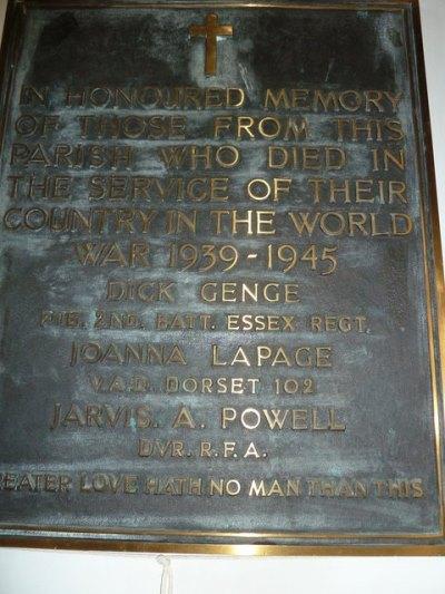 World War II Memorial Wootton Fitzpaine Church