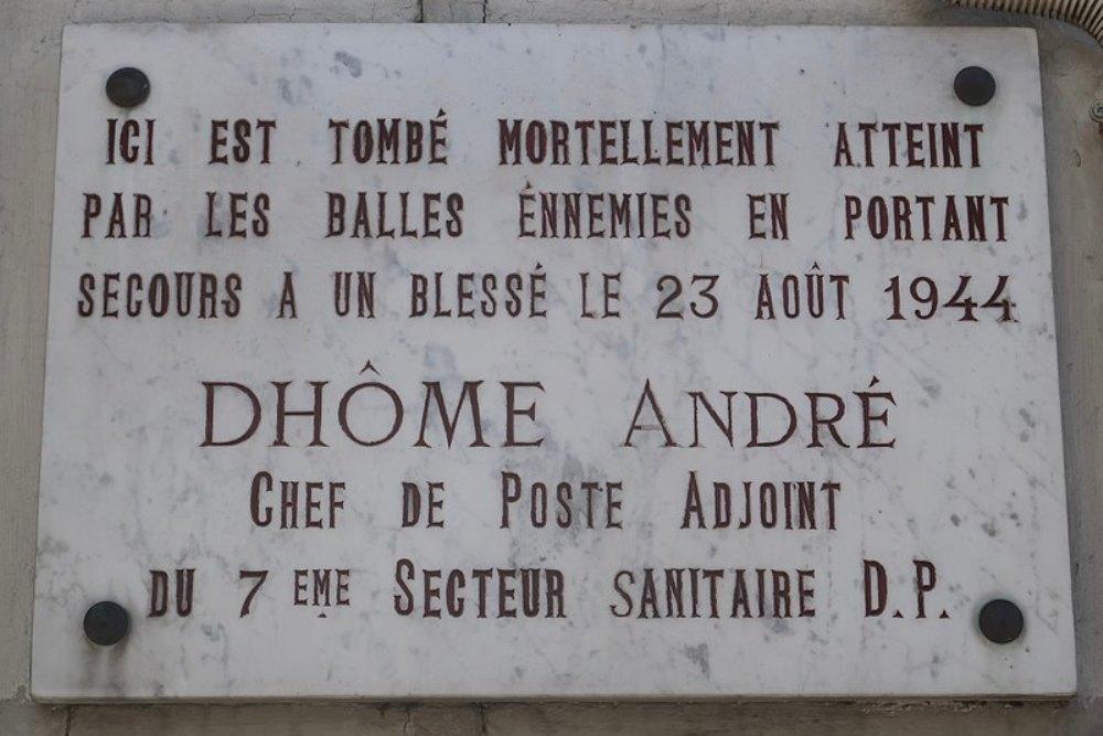 Plaque André Dhôme