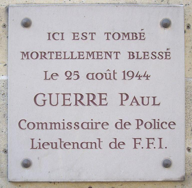 Plaque Paul Guerre