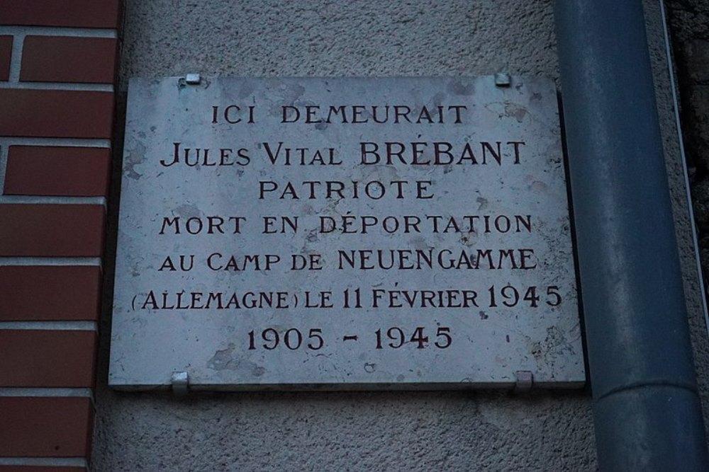 Plaque Jules Vital Brebant