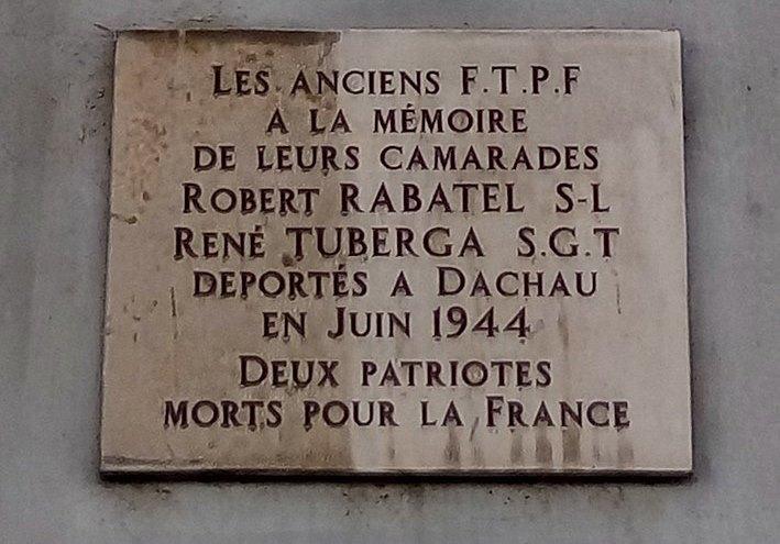Plaque Robert Rabatel and René Tuberga