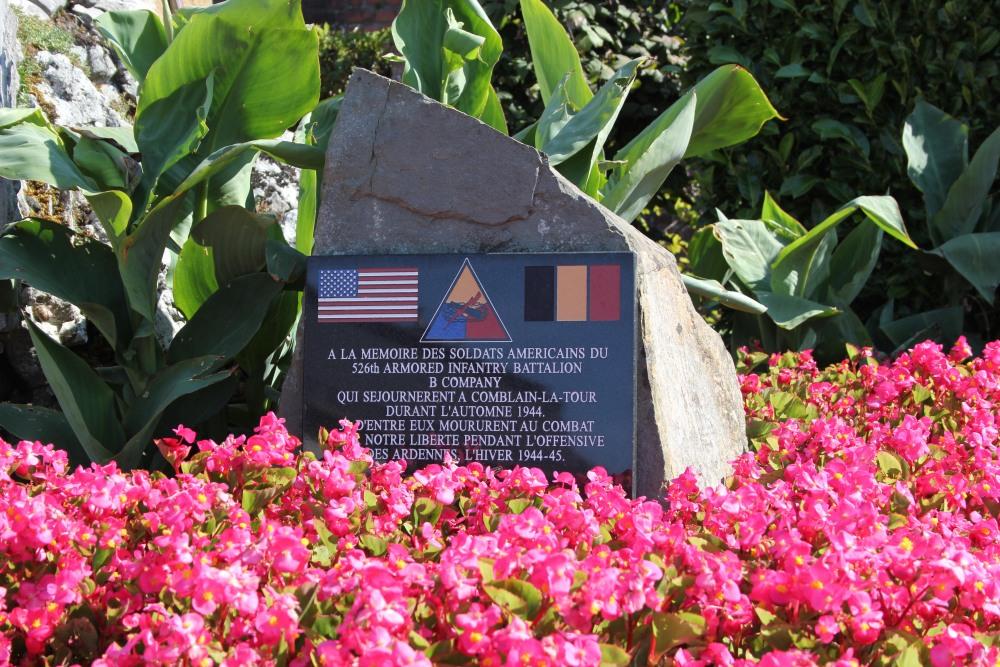 Gedenkplaat U.S. Company B - 526th Armored Infantry Battalion