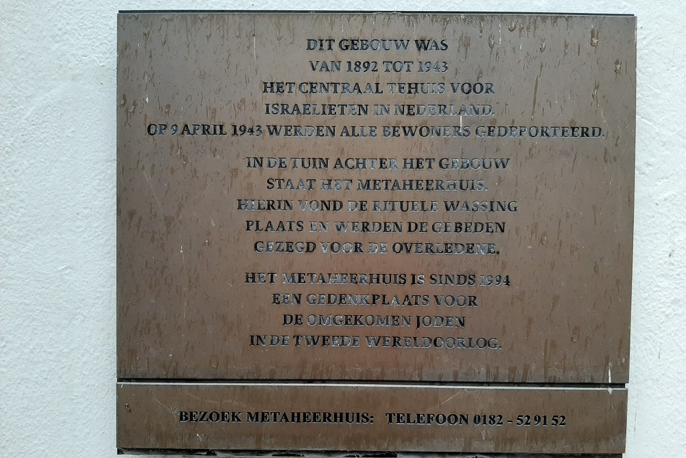 Jewish Plaque Former Central Home of Israelites in the Netherlands