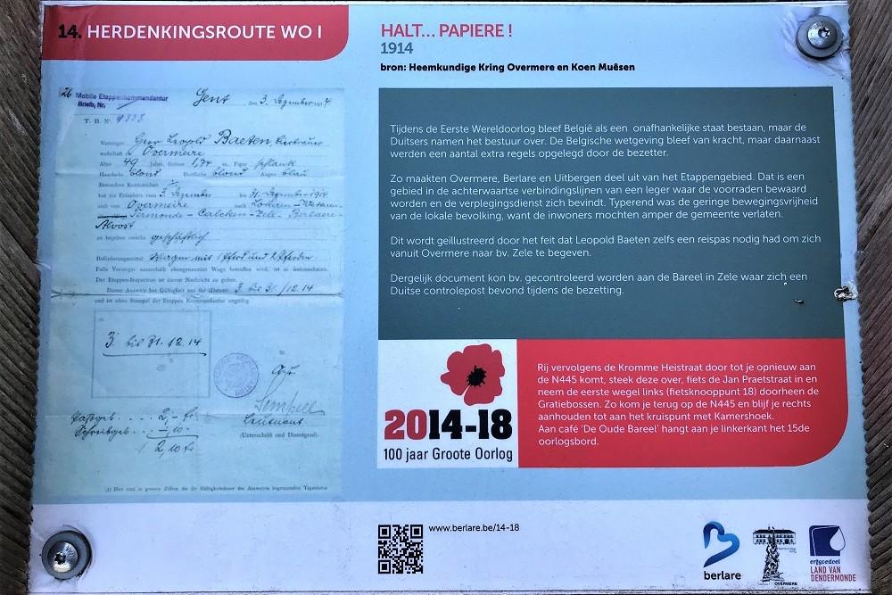 Herdenkingsroute 100 jaar Groote Oorlog - Informatiebord 14