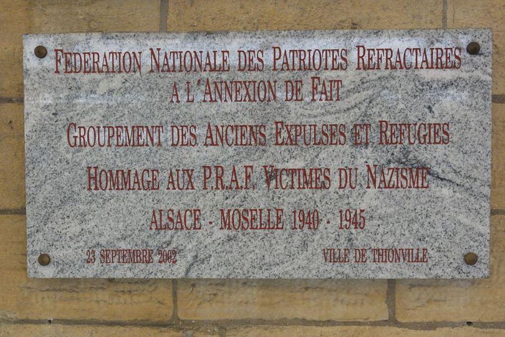 Plaque Federation Nationale des Patriotes Refractaires