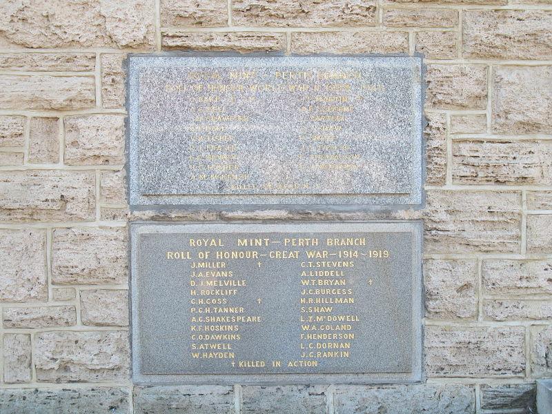 War Memorial Royal Mint - Perth Branch