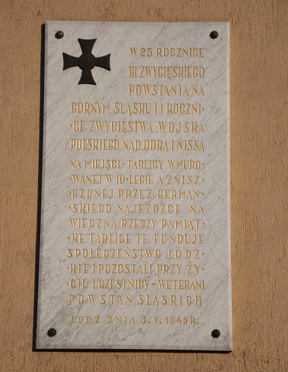 Plaques 3rd Silesian Uprising Lodz