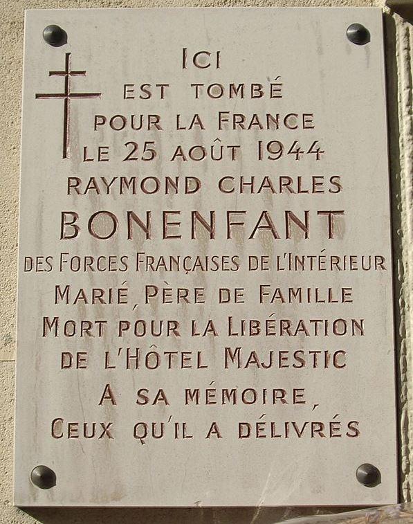 Plaque Raymond Charles Bonenfant