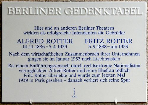 Plaque Alfred Rotter and Fritz Rotter