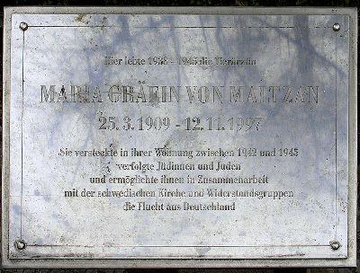 Plaquette Maria Gräfin von Maltzan