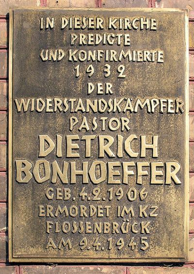 Plaquette Dietrich Bonhoeffer
