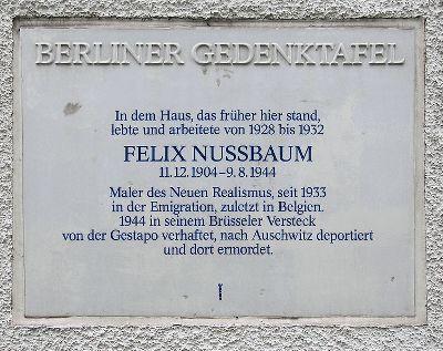 Plaquette Felix Nussbaum