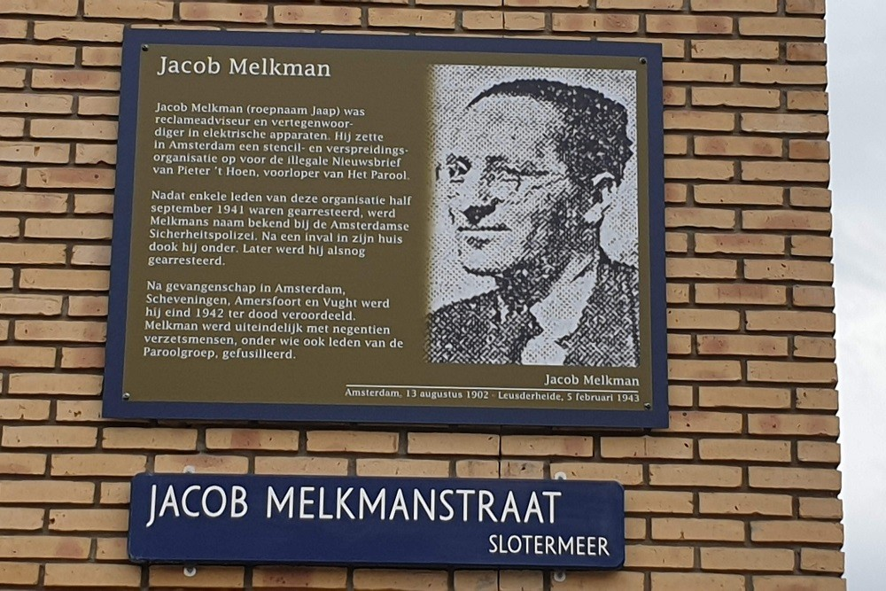 Memorial Plates Slotermeer Jacob Melkmanstraat