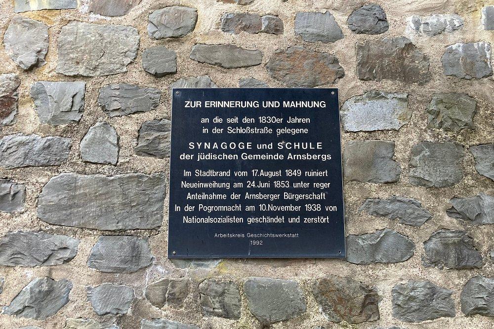 Plaque Former Synagogue And School Arnsberg