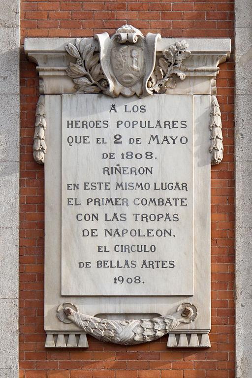 Plaque Uprising 2 May 1808 Madrid Tracesofwar Com