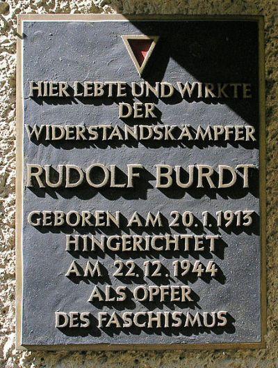 Plaque Rudolf Burdt