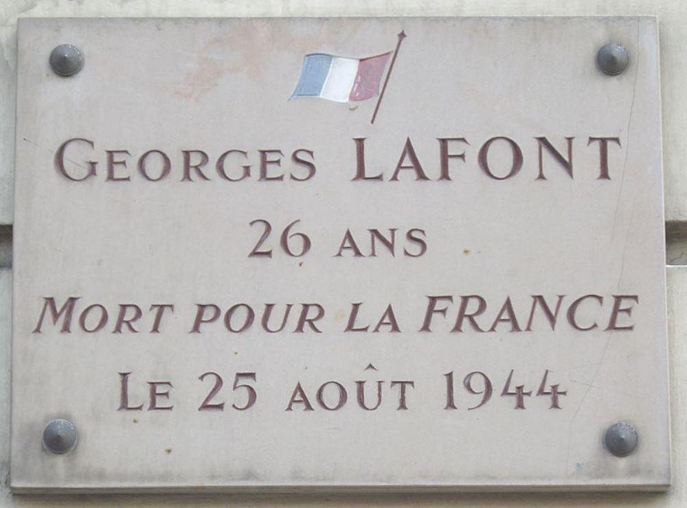 Plaque Georges Lafont