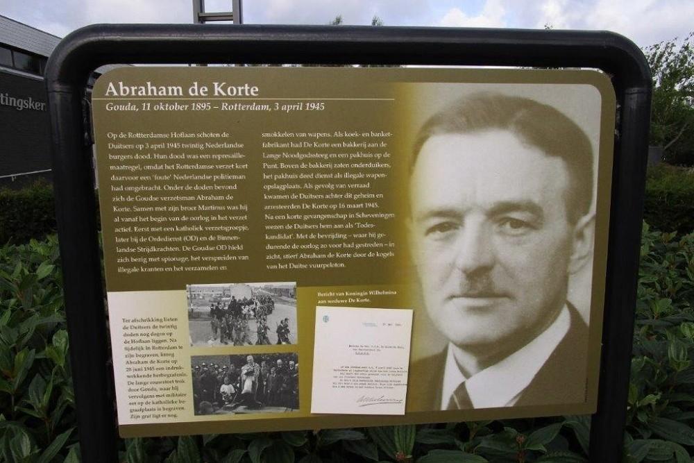 Informatiepaneel Verzetsheld Abraham De Korte