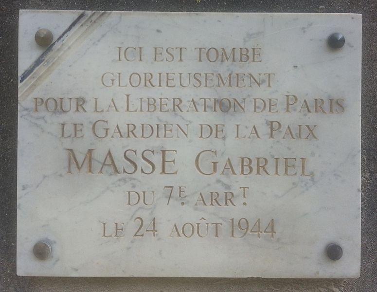 Plaquette Gabriel Masse
