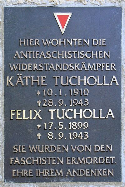 Plaquette Käthe en Felix Tucholla