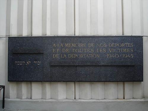 Plaquette Joodse Gedeporteerden Parijs