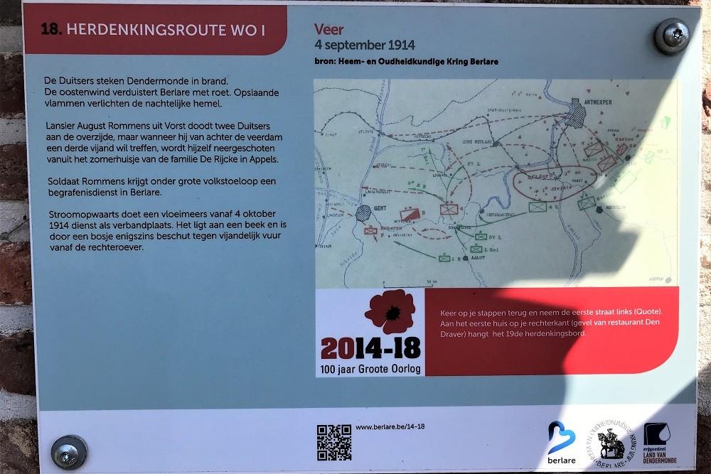 Herdenkingsroute 100 jaar Groote Oorlog - Informatiebord 18