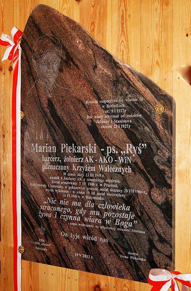 Plaque Marian Piekarski
