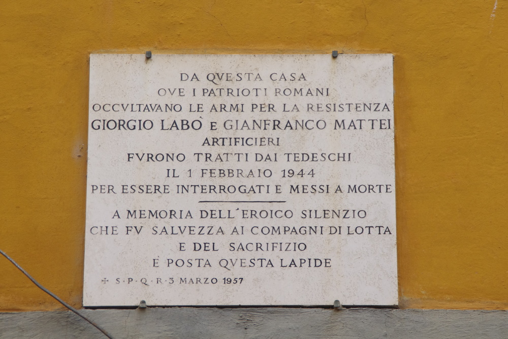 Plaque Plaque Giorgio Labo and Gianfranco Mattei