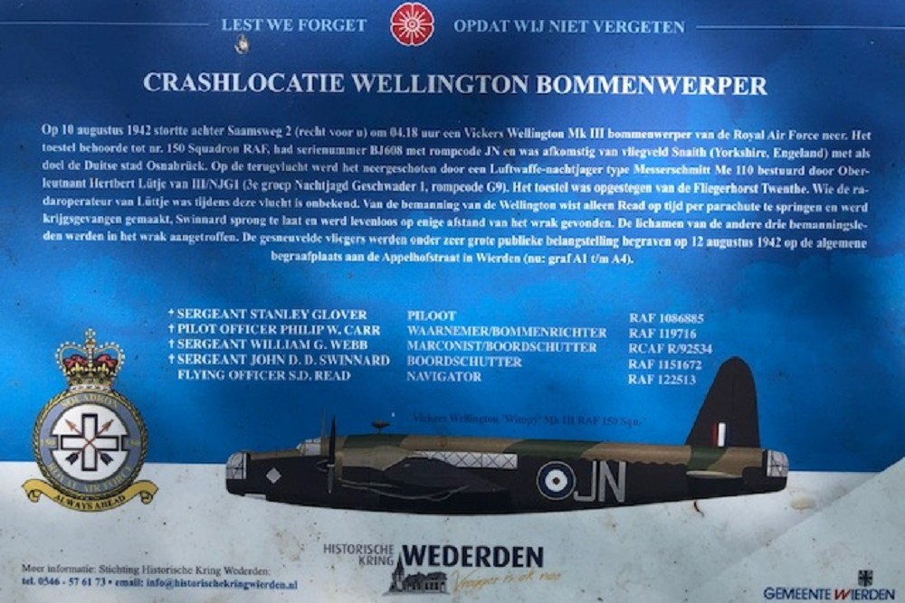 Crash Site Wellington MK III Saamsweg Wierden