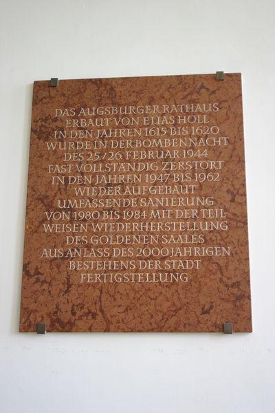Plaquettes Wederopbouw Rathaus Augsburg