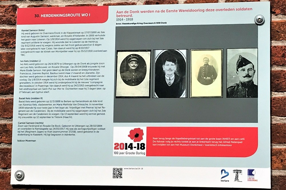 Herdenkingsroute 100 jaar Groote Oorlog - Informatiebord 30