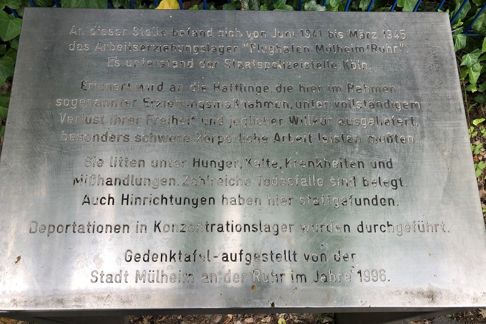 Plaquette Arbeitserziehungslager Vliegveld Essen/Mülheim