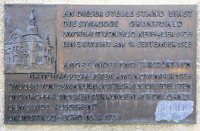 Plaque Synagogue Grunewald