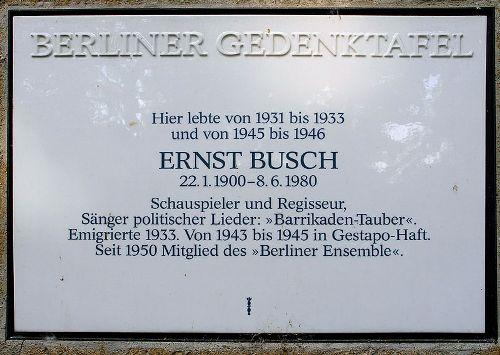Plaquette Ernst Busch