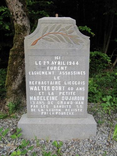 Memorial for Walter Dony en Madeleine Dujardin