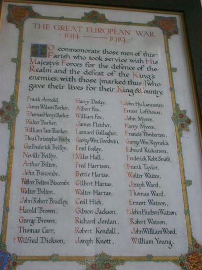 Roll of Honour St. Helen Church