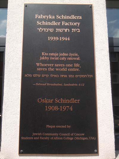 Plaquette Oskar Schindler (Fabriek) Krakau