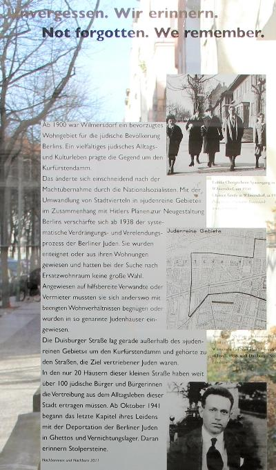 Monument Joodse Bewoners Duisburger Straße