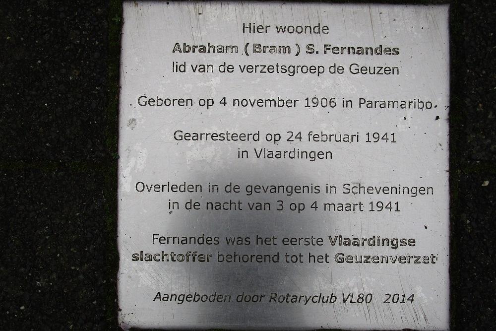 Remembrance tile Abraham Fernandes