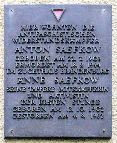 Plaque Anton and Änne Saefkow