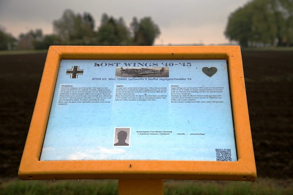 Herinneringsbord Crashlocatie Messerschmitt Bf 109 Wnr. '15660'