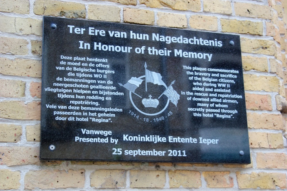 Commemorative Plaque Hotel Regina Ieper