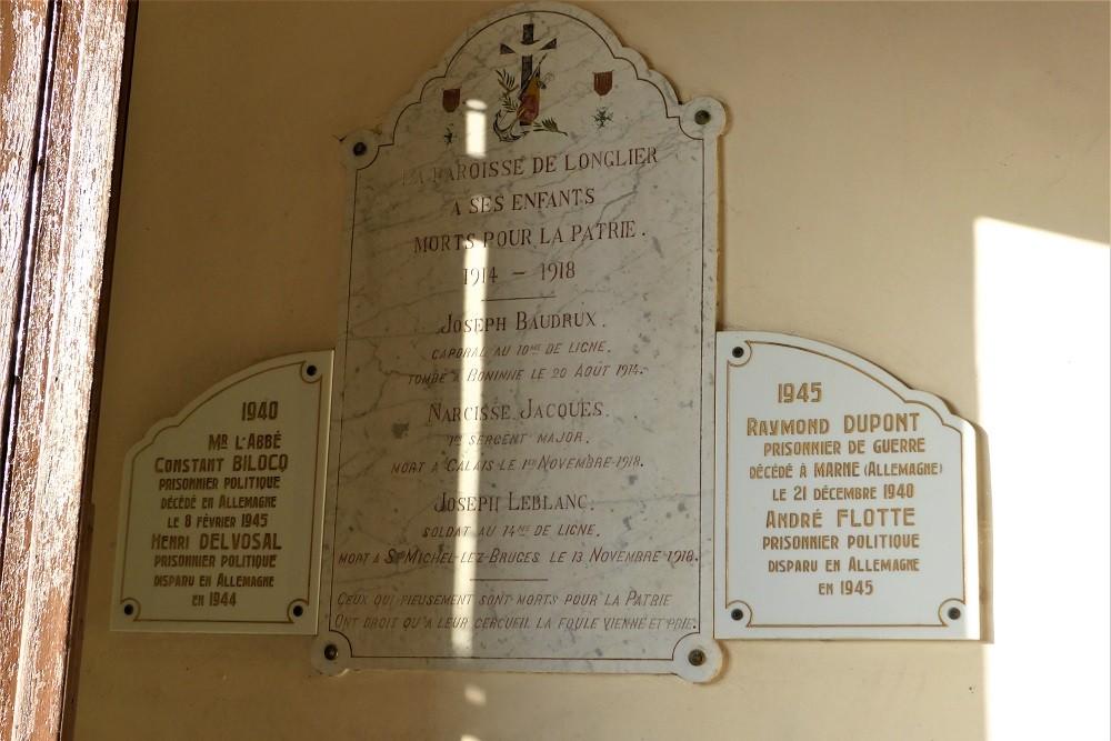 Commemorative Plaque Church Longlier