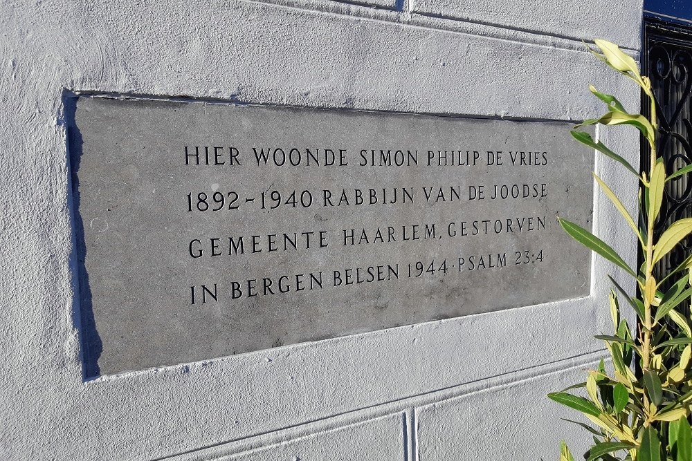 Plaque Rabbi Simon Philip de Vries