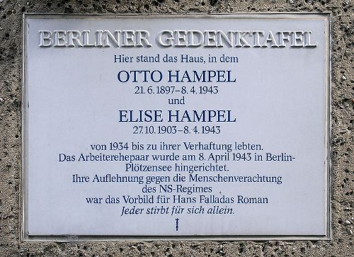 Plaque Otto Hampel and Elise Hampel