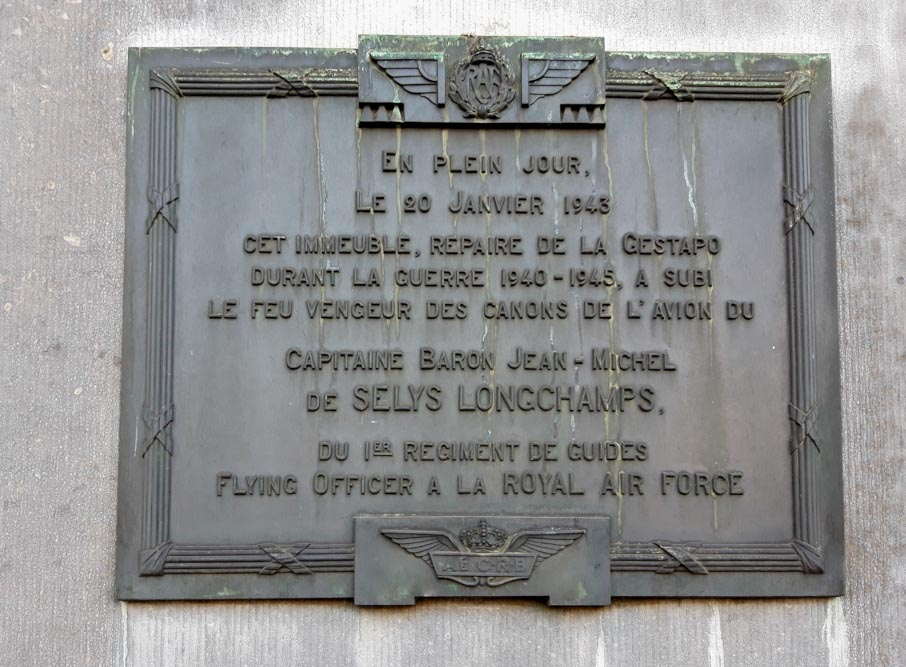 Commemorative plaque Jean de Selys Longchamps