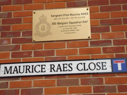 Memorial Plaque Sergeant Pilot Maurice Raes