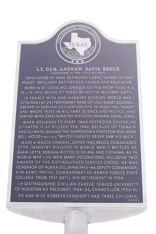 Texas Historic Marker - Lt. Gen. Andrew Davis Bruce