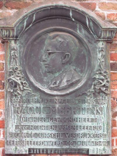 Plaque Raoul Meertens Brugge